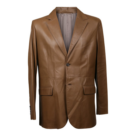 Leather Overcoat // Brown (L)