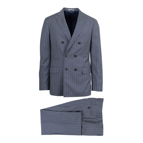 Uccello Striped Wool Double Breasted Suit // Gray (Euro: 44)