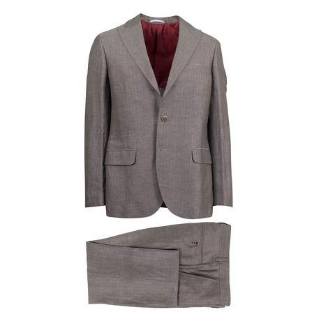 Fidenziano Wool Blend Suit // Brown (Euro: 46)