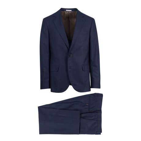 Check Notch Lapel Cashmere Blend 3/2 Suit // Navy Blue (Euro: 54)