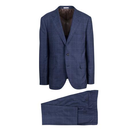 Windowpane Notch Lapel Cashmere Blend 3/2 Suit // Navy Blue (Euro: 56)