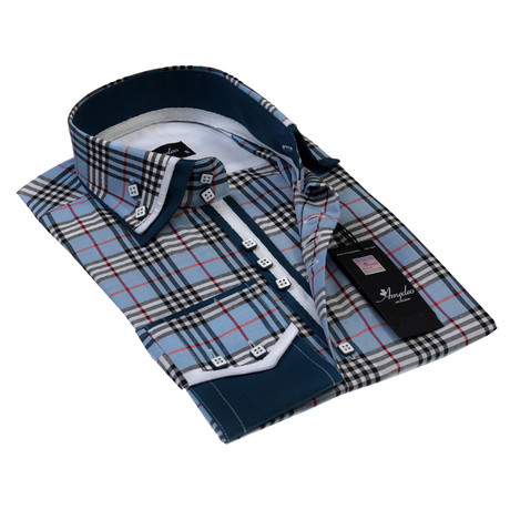 Reversible Cuff Button-Down Shirt // Blue Check (S)