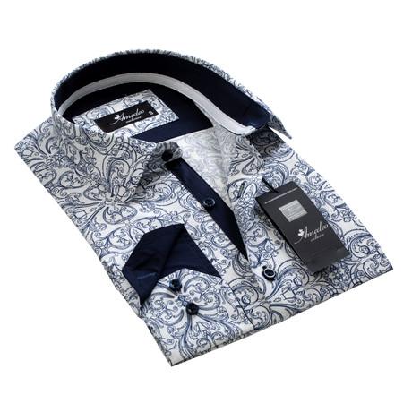 Reversible Cuff Button-Down Shirt // White + Blue Paisley (S)