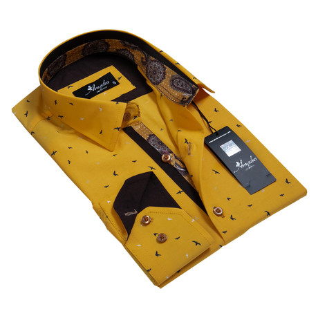 Reversible Cuff Button-Down Shirt // Dark Yellow + Multi Paisley (S)
