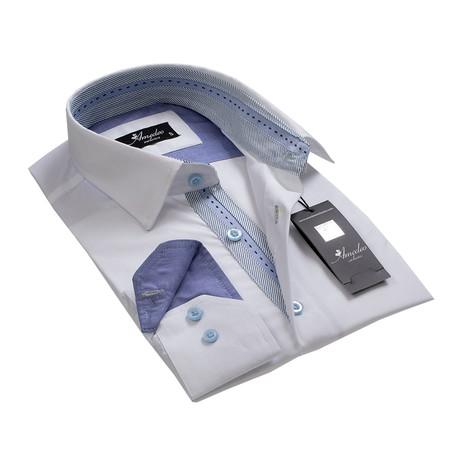 Reversible Cuff Button-Down Shirt // Solid White + Denim Blue (2XL)