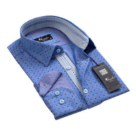 Reversible Cuff Button-Down Shirt // Geometric Denim Blue (S)