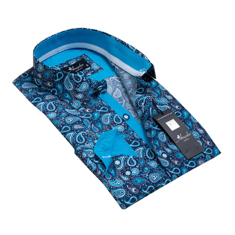 Reversible Cuff Button-Down Shirt // Blue Paisley (S)