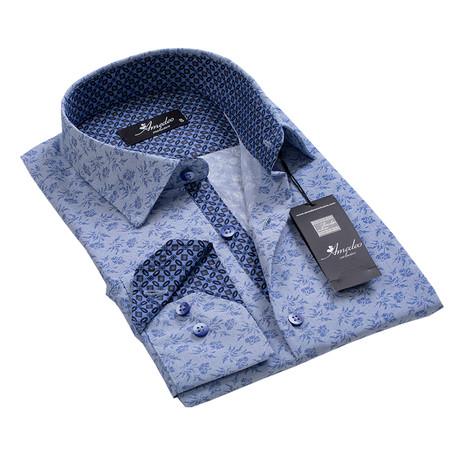 Reversible Cuff Button-Down Shirt // Light Blue + Gray Floral (S)