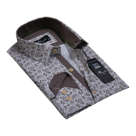 Reversible Cuff Button-Down Shirt // White + Brown Paisley (S)