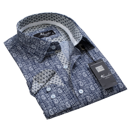 Reversible Cuff Button-Down Shirt // Extreme Dark Blue + White Paisley (S)