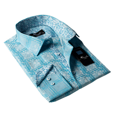 Reversible Cuff Button-Down Shirt // Turquoise Check + Blue Floral (S)