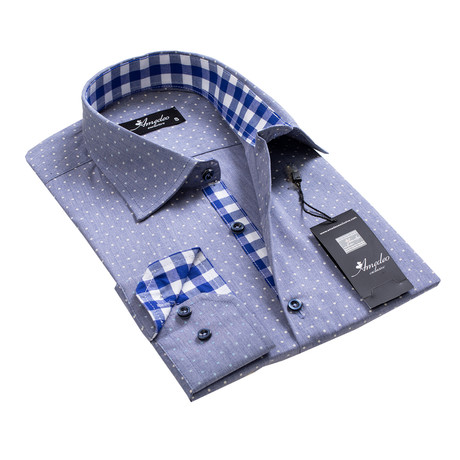 Reversible Cuff Button-Down Shirt // Blue-Gray + White Dots (S)