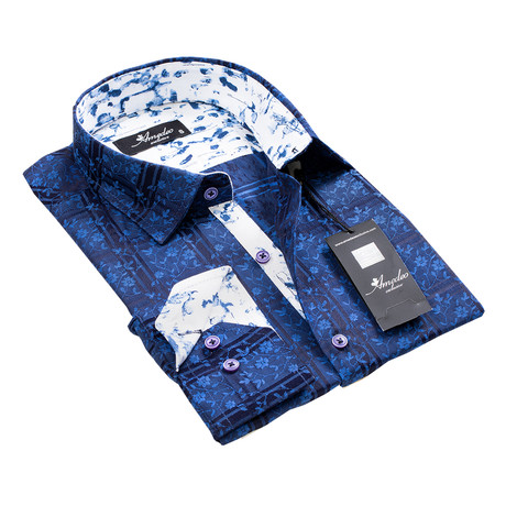 Reversible Cuff Button-Down Shirt // Electrical Blue Floral (S)