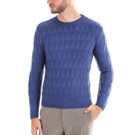 Wool Sweater + Geometric Design // Blue (S)