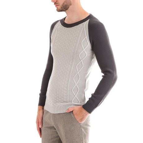 Wool Raglan Sweater + Geometric Design // Gray (S)