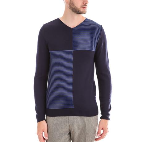 Sweater + Square Design // Blue (M)