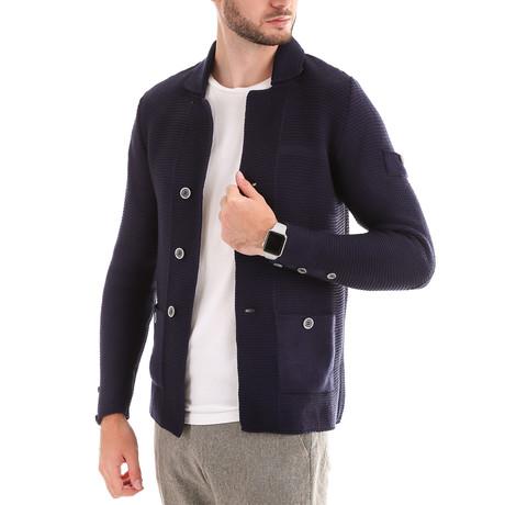 Textured Wool Jacket // Navy (S)