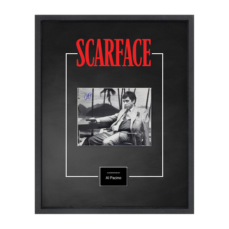 Signed Movie Poster // Scarface // Al Pacino // Black + White