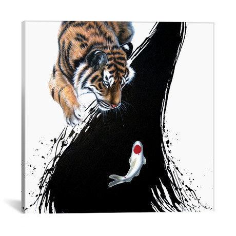 "Tiger With Koi (18""W x 18""H x 0.75""D)"