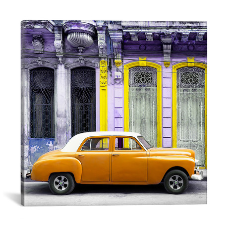 "Orange Vintage Car in Havana // Philippe Hugonnard (18""W x 18""H x 0.75""D)"