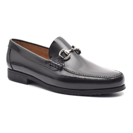 Patent Loafer + Ornate Buckle // Black (Euro: 38)