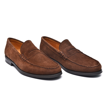 Suede Slit-Strap Loafer II // Brown (Euro: 38)