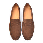 Suede Slit-Strap Loafer II // Brown (Euro: 46)