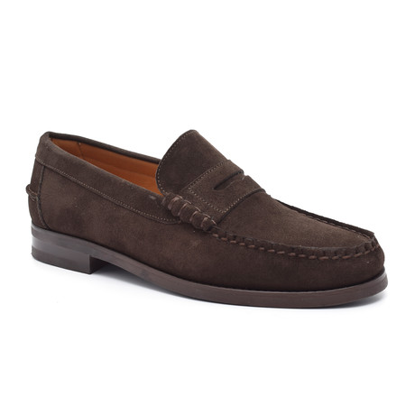 Suede Slit-Strap Loafer // Brown (Euro: 38)