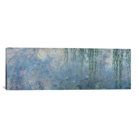 """Waterlilies: Morning with Weeping Willows, detail of central section, 1914-18 (36""""W x 12""""H x 0.75""""D)"""