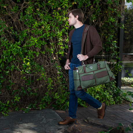 Alpaque Duffel Laptop Bag // Forest Green + Brown