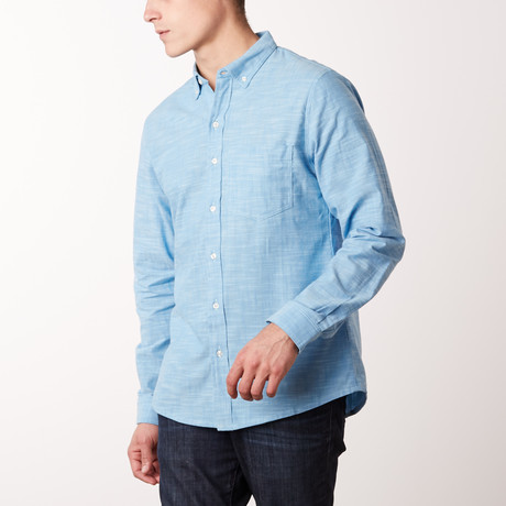 Crosshatch Sky Shirt // Sky Blue (S)
