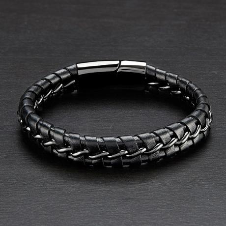Leather Braided Bracelet + Curb Chain // Gunmetal