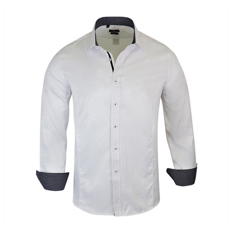 Mauro True Modern-Fit Long-Sleeve Dress Shirt // White (S)