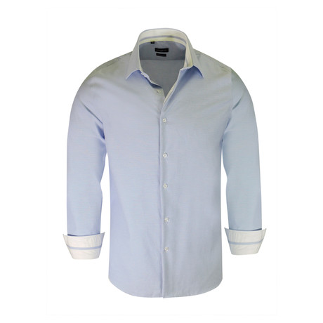 Gregg True Modern-Fit Long-Sleeve Dress Shirt // Blue (S)