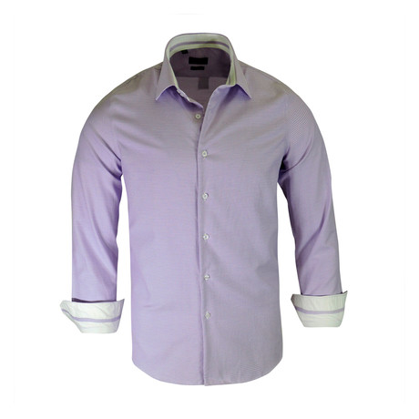 Gregg True Modern-Fit Long-Sleeve Dress Shirt // Purple (S)