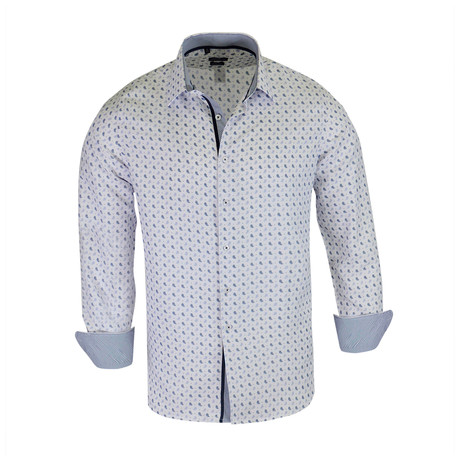 Martin True Modern-Fit Long-Sleeve Dress Shirt // White + Navy (S)