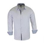 Martin True Modern-Fit Long-Sleeve Dress Shirt // White + Navy (M)