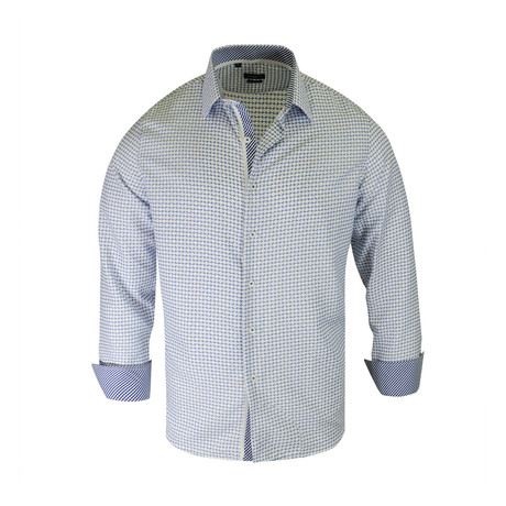 Angelo True Modern-Fit Long-Sleeve Dress Shirt // White + Blue (S)