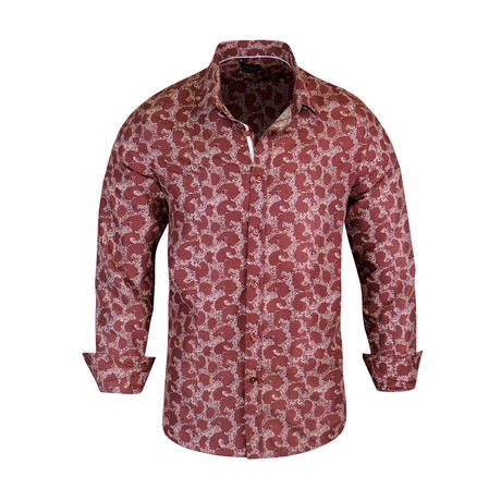 Dallas True Modern-Fit Long-Sleeve Dress Shirt // Burgundy (S)