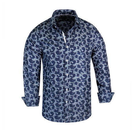 Dallas True Modern-Fit Long-Sleeve Dress Shirt // Navy (S)