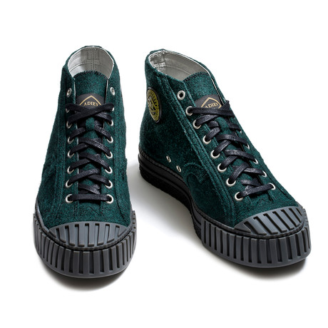 High Lace-Up Wool Felt Sneakers // Green (Euro: 39)
