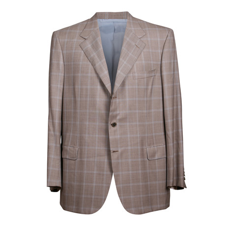 Rolling 3 Button Plaid Blazer // Beige (US: 36S)