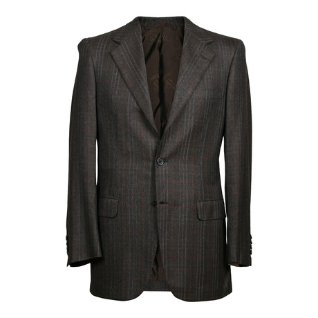 Rolling 3 Button Fishbone Cashmere Blazer // Brown (US: 36S)