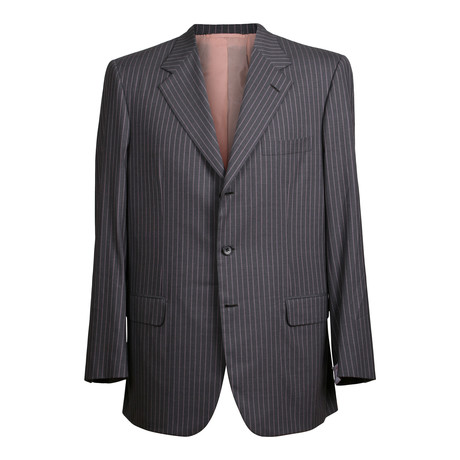 Super 180s Striped Rolling 3 Button Suit // Gray (US: 36S)