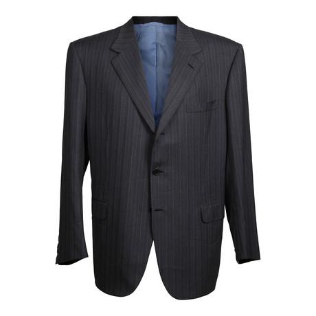 Super 150s Striped Rolling 3 Button Suit // Blue + Gray (US: 36R)