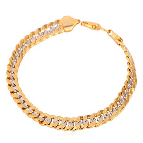 Two Tone Cuban Link Bracelet