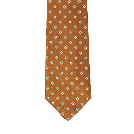 Isaia Plaid Pattern Tie // Brown