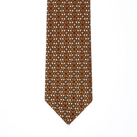 Isaia Art Deco Pattern Tie // Brown