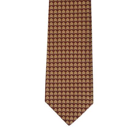 Isaia Art Deco Pattern Tie // Brown + Gold