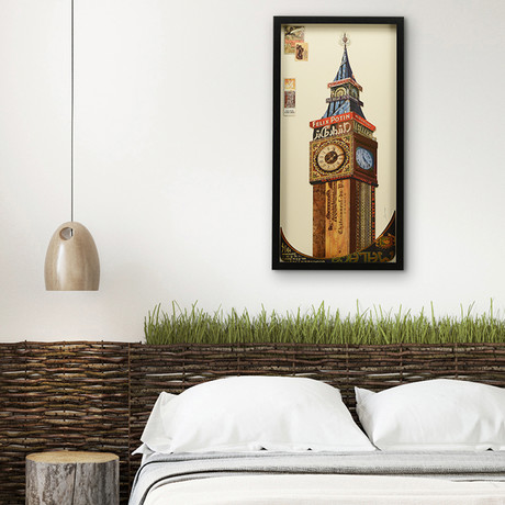 """""""Big Ben"""" Dimensional Graphic Collage Framed Under Tempered Glass Wall Art"""